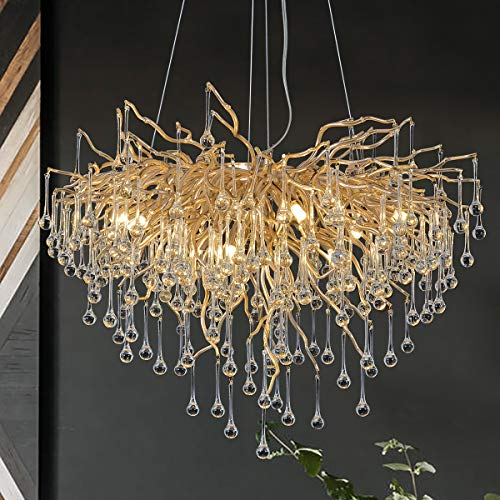Modern Crystal Chandelier Lighting Ceiling Pendant Dining Room Foyer Entryway Chandeliers Flower Rain-Drop Hanging Light…