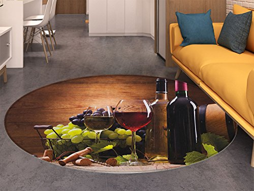 Wine Area Silky Smooth Rugs Glasses of Red and White Wine Served with Grapes French Gourmet Tasting Home Decor Area Rug Brown Ruby Pale Green
