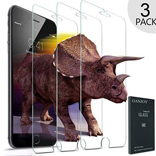 GANJOY 3-Pack iPhone 7 Screen Protector Glass, 0.3MM Slim And 9H Hardness Bubble Free, Anti-Fingerprint, Oil Stain&Scratch Coating