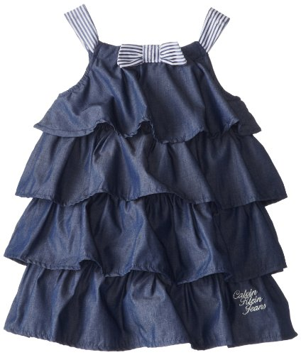 Calvin Klein Girls 2-6X Tiered Chambray Dress with Printed Contrast Straps