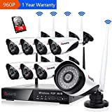 Wireless Security Camera System, 8 Channel NVR 960P Surveillance System Bullet Camera Night Vision Motion Detection 1TB Hard Drive for Indoor Outdoor