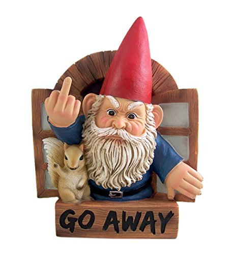 """Grumpy Gnome """"Go Away"""" Wall Plaque 8.75 Inch from Gnome Wall Mount"""
