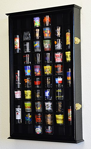 (54 Shot Glass Shooter Display Case Holder Cabinet Wall Rack w/ UV Protection)