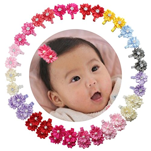 Baby Girls Grosgrain Ribbon Hair Bows Clips for Toddlers Kids 15 Pairs Barrettes (1.5'' Hair Flowers 16 Pairs)