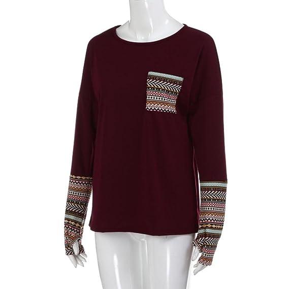 ... larga para Mujer con los agujeros del pulgar, Yannerr primavera remiendo suelta casual jersey sudadera blusa camisa mono deporte deporte traje ropa (L2, ...