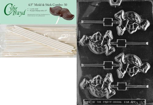 Cybrtrayd 45St50-A082 Turtle Lolly Animal Chocolate Candy Mold with 50 4.5-Inch Lollipop Sticks