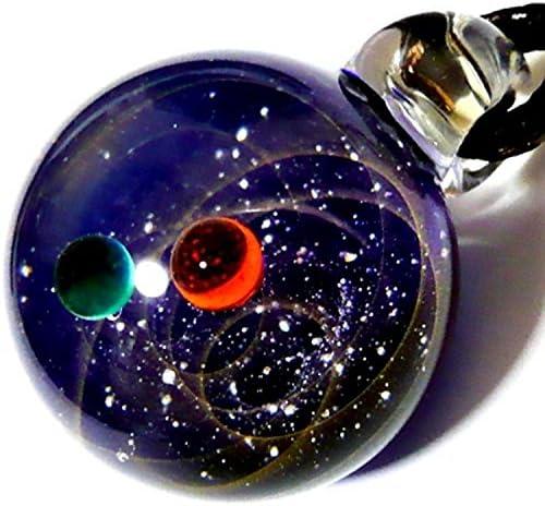 匠の技 神秘的な 宇宙 銀河 ガラス ネックレス ペンダント 世界 地球 地球儀 ステンレス チェーン ステンレスチェーン アクセサリー アンクレット (28)
