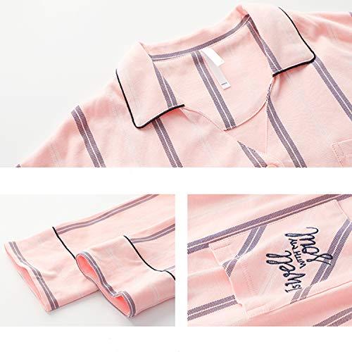 Ropa Dormir Girls Larga Otoño Diaria Ladies 100 Las Algodón Invierno Mujeres Sueltas Solapa Casual De Pijamas Inicio Rayas Rosa Manga Loungewear CTBSn