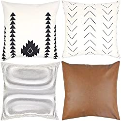 Woven Nook Decorative Throw Pillow COVERS ONLY For Couch, Sofa, or Bed Set Of 4 18 x 18 inch Modern Quality Design 100% Cotton Stripes Geometric faux leather Amaro Set by