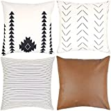 Woven Nook Decorative Throw Pillow Covers ONLY for Couch, Sofa, or Bed Set of 4 18 x 18 inch Modern Quality Design 100% Cotton Stripes Geometric Faux Leather Amaro Set
