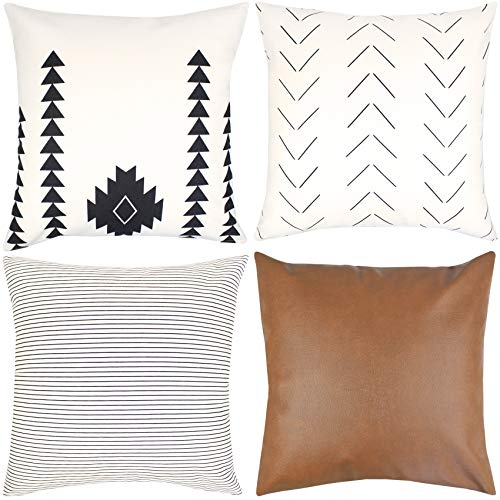 Woven Nook Decorative Throw Pillow Covers ONLY for Couch, Sofa, or Bed Set of 4 18x18 20x20 and 22x22 inch Modern Design 100% Cotton Stripes Geometric Faux Leather Amaro Set (18