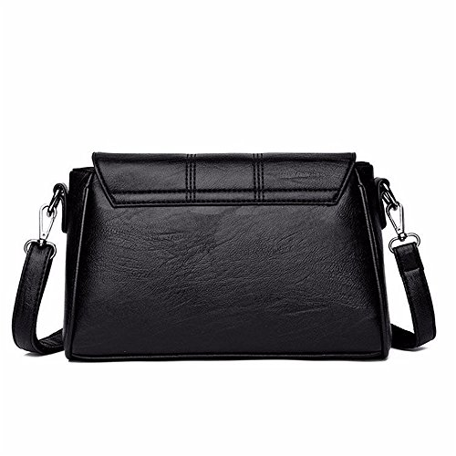 Pu Soft Simple Square Bag Bag Retro Black Leather Lock Shoulder Messenger Leisure xppqEaFXw
