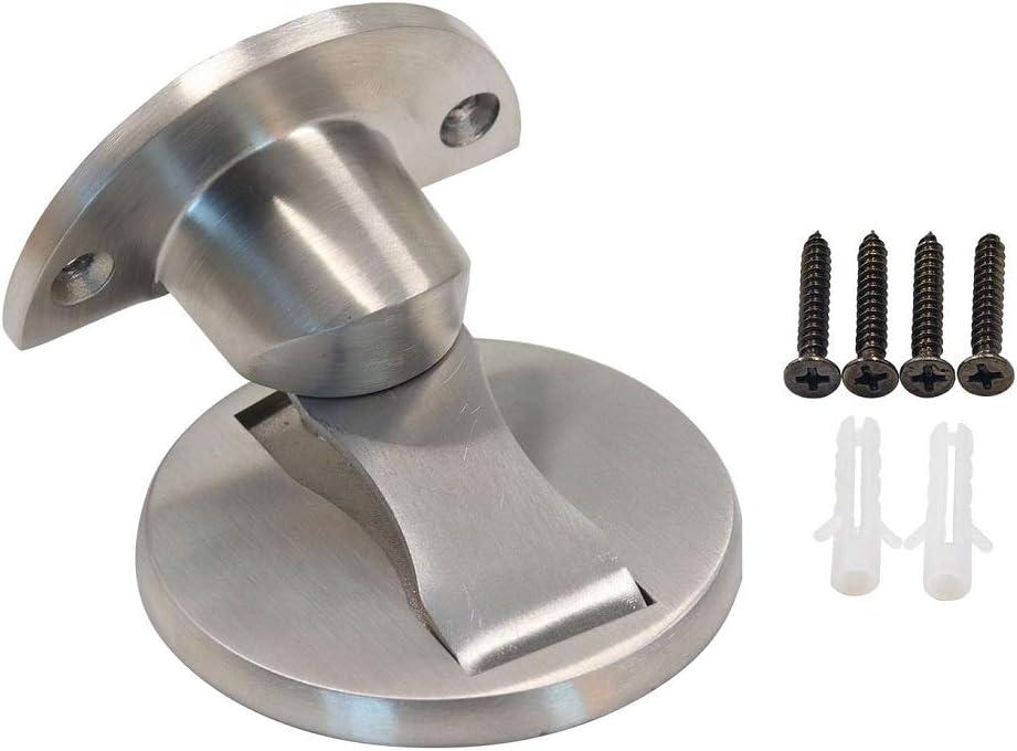 ONLEE 304 Stainless Steel Magnetic Door Stop Door Catch Metal Door Holder Doorstop Heavy Duty Brushed Finish with Screw Mount Black