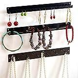 Wall Mounted Metal Jewelry Organizer Racks, Earrings Necklace Hanger Hooks, Set of 3, Black