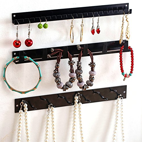 Wall Mounted Metal Jewelry Organizer Racks, Earrings Necklace Hanger Hooks, Set of 3, Black