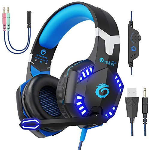 VersionTECH. G2000 Pro Gaming Headset PS4 Xbox One Wired Headphones with 3D Surround Sound, HD Microphone, Volume Control, LED Lights, Compatible with Playstation 4, Xbox 1, NS, PC Mac Computer Blue