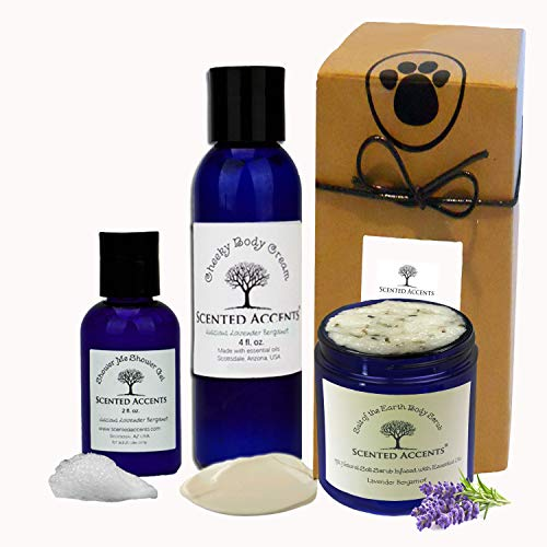 (Scented Accents Spa Pack Fresh-Made All-Natural Luscious Lavender Bergamot Salt of the Earth Body Scrub, Cheeky Body Cream, Travel Shower Gel for Dry Skin, Vegan)