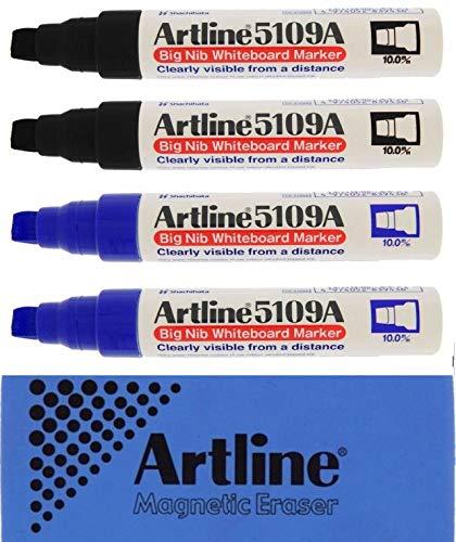 (Jiffco Artline 5109A Big Nib Whiteboard Markers 4 Pack 2x Black & 2x Blue Bundle With Magnetic Eraser )