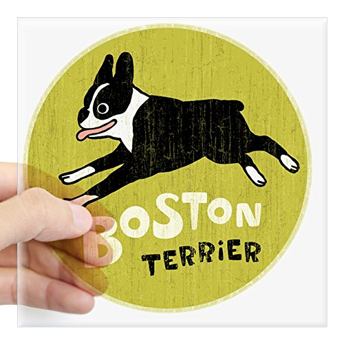 (CafePress Bostonterrierfordrk Square Sticker 3 X 3 Square Bumper Sticker Car Decal, 3