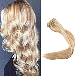 Full Shine 18 inch Highlight Hair Color #24 Mix Color #27 Honey Blonde Remy Human Hair Extensions Double Weft Clip Hair Extensions 9Pieces 100g Per Set