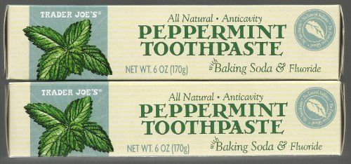 Fluoride Anticavity Toothpaste - Trader Joe's All Natural Anticavity Peppermint Toothpaste with Baking Soda and Fluoride 6oz (Pack of 2)