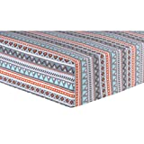 Ln Beautiful Red Blue Grey Aztec Deluxe Flannel Fitted Crib Sheet, Tribal Themed Nursery Bedding, Infant Child Toddler Southwest Native Triangle Patterns Canoe Cute Adorable, Cotton