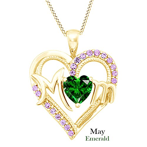 AFFY Simulated Emerald MOM Heart Pendant Necklace in 925 Yellow Gold Over Sterling Silver (1.8 cttw) ()