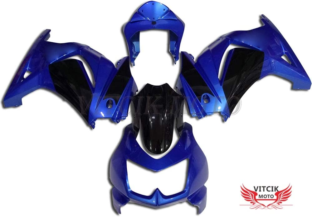 VITCIK (Fairing Kits Fit for Kawasaki EX250R Ninja 250 EX-250R ZX250 2008 2009 2010 2011 2012 Plastic ABS Injection Mold Complete Motorcycle Body Aftermarket Bodywork Frame (Blue & Black) A024