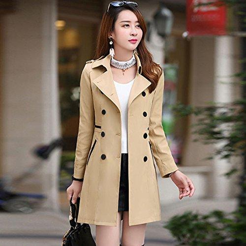 y invierno suelto e niñas doble abrigo Mayihang largo color Caqui otoño abrigo en botonadura Las 7aInOxO