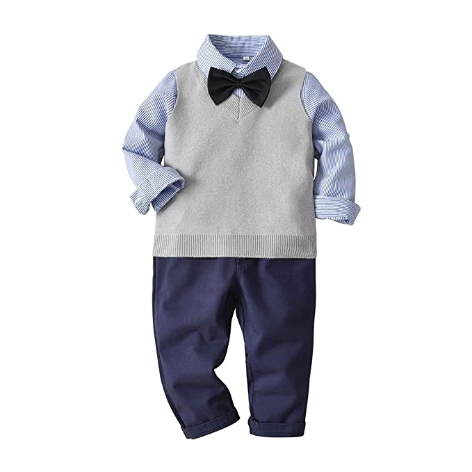 a656a3b6a7fcd Amazon.com: Fairy Baby Toddler Boys 4pcs Formal Outfit Clothes Bow+ ...