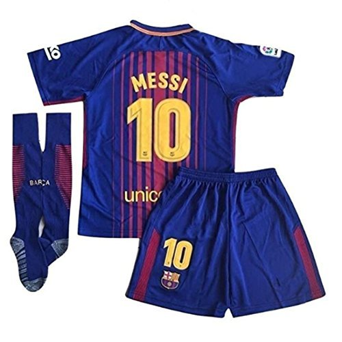 Newois Barcelona Home #10 Messi Kids Or Youth Soccer Jersey & Shorts & Socks Set 2017-2018 Season Red/Blue Size 7-8Years