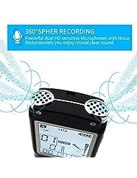 Grabadora de voz de 16 GB con micrófono doble, grabación de sonido HD con reproductor de MP3 para conferencias, reuniones, USB, grabadora de voz activada, grabación de alta definición