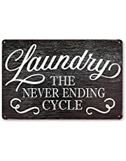 Goutoports Laundry Room Vintage Metal Sign Laundry Never Ending Cycle Decorative Sign Wash Room Home Decor Art Sign 7.9x11.8 Inch