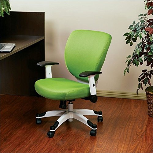 SPACE Seating Professional Deluxe Padded Mesh Seat and Back, 2-to-1 Synchro, Adjustable Arms and Tilt Tension with White Coated Nylon Base Frame Task Chair, Green by Space Seating