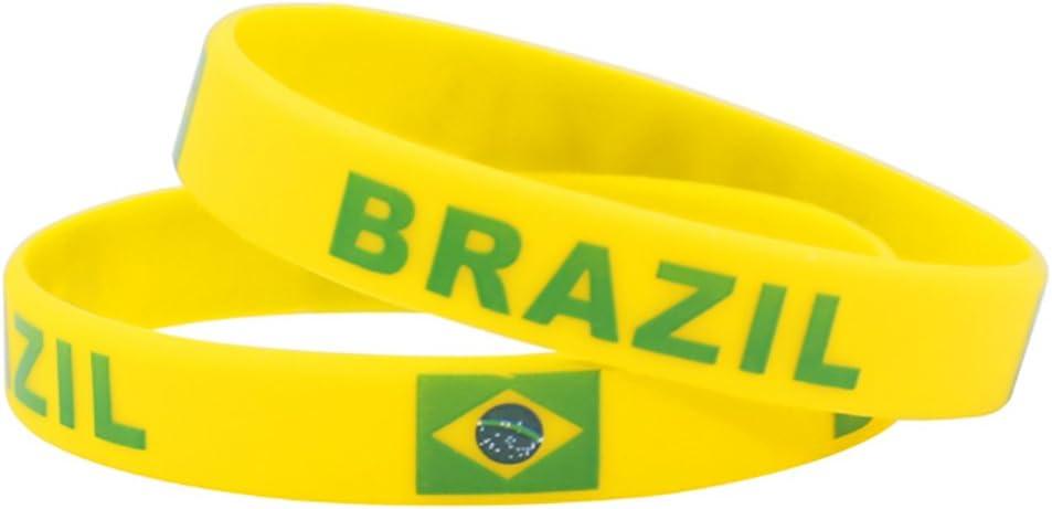 Coupe du Monde de Football Bracelet Motif 2018 Les Fans de Football Bracelet Accessoires de Fans de Foot Football Coque en Silicone Bracelet Pom-Pom Girl Fournitures