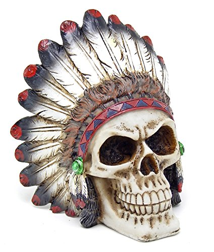 Native American Warrior Statue - Tribal Chieftain Mohawk Indian Warrior Skull with Roach Skeleton Figurine Statue