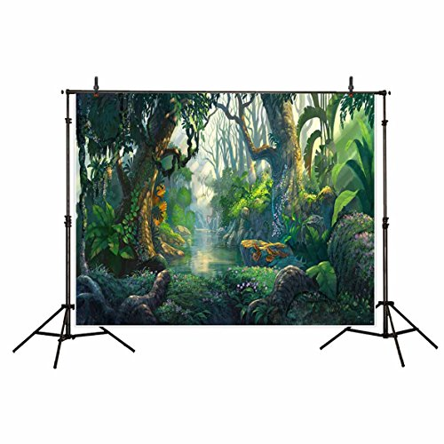 Funnytree 7x5ft Scenic Natural Photography Backdrops Morning Tropical Jungle Adventure Forest Life Wall Decoration Backdrop Photo Studio Background Photobooth