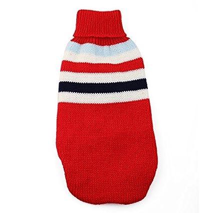 eDealMax Invierno de Punto Caliente capa del suéter del patrón Raya de Lana del Animal doméstico