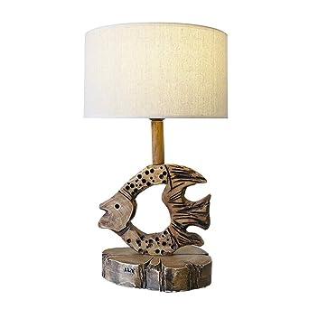 Liunce Creativa pescado rústica lámpara de mesa americana simple ...