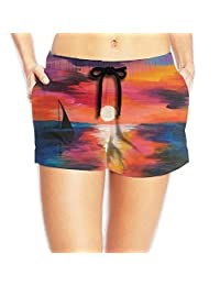 Sunset Beach Oil Painting Board Shorts Perspiration Drawers With Pockets For Womans White