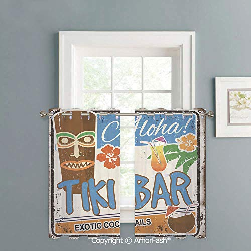 (Kitchen Window Sheer Curtains -White Crushed Voile Draperies,Privacy Semi Sheer Curtains,W42 x L24-Inch,Tiki Bar Decor Rusty Vintage Sign Aloha Exotic Cocktails Coconut Drink Antique Nostalgic)