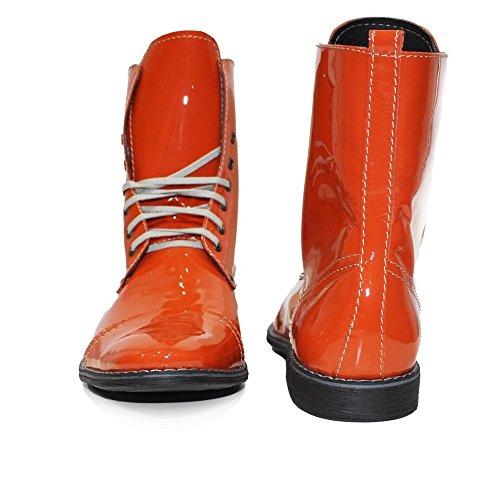 PeppeShoes Modello siciliano - Cuero Italiano Hecho A Mano Hombre Piel Naranja Botas Altas - Cuero Cuero Suave - Encaje