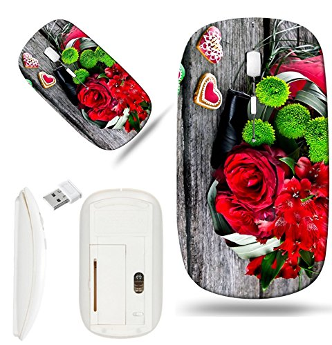 Luxlady Wireless Mouse White Base Travel 2.4G Wireless Mice with USB Receiver, 1000 DPI for notebook, pc, laptop, macdesign IMAGE ID: 22968315 Wedding Bouquet with Heart shape Gingerbread on wooden ba