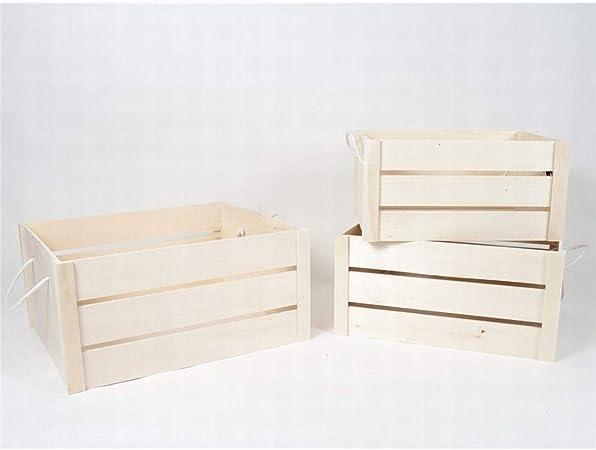 Gerimport Set de 3 Cajas de Madera con Asas (Medidas de la Caja Grande: 49x40x24): Amazon.es: Hogar