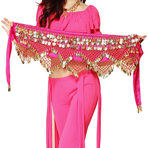 Bella Skirt Beaded (Pilot-tradeWomen's Sweet Bellydance Hip Scarf With Gold Coins Skirts Wrap Noisy Dark Pink)
