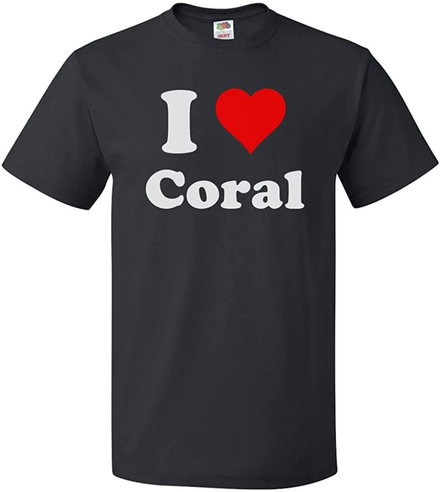 I Love Heart Coral Ladies T-Shirt
