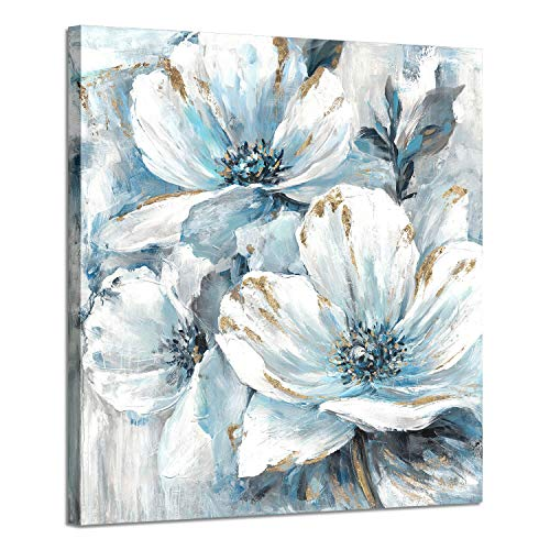 - Flowers Artwork Canvas Art Pictures: White and Blue Lily Pad - Flower Splash with Burst of Spring Canvas Prints for Arts Decoration ( 28'' x 28'')