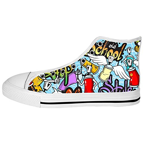 Custom Graffiti Mens Canvas shoes Schuhe Lace-up High-top Sneakers Segeltuchschuhe Leinwand-Schuh-Turnschuhe B