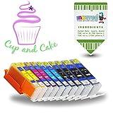 INKUTEN 10-Pack Edible Ink Cartridges for PGI-250 CLI-251 XL PGI250 CLI251 XL for IP7220 IX6820 MG5420 MG5422 MG5520 MG5522 MG5620 MG5622 MG6420 MG6620 MX722 MX922