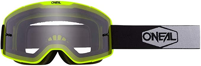 O Neal Fahrrad Motocross Brille Mx Mtb Dh Fr Downhill Freeride Verstellbares Band Optimaler Komfort Perfekte Belüftung B 20 Goggle Unisex Neon Gelb Schwarz Grau Clear One Size Bekleidung
